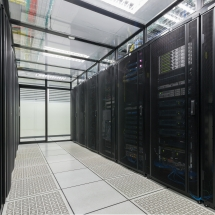 Modern interior of server room Data Center.